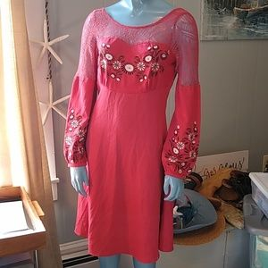 Coral Lace Embroidered Dress